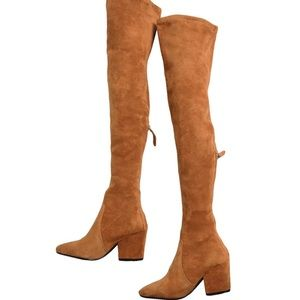 Goodnight Macaroon Over the Knee Boots, Tan, New